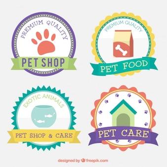 Bonita selección de insignias de tienda de animales