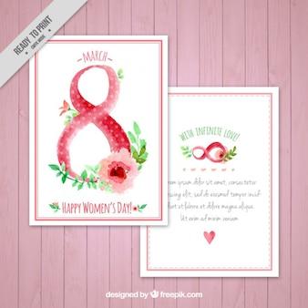 Bonita tarjeta de acuarela del día de las mujeres