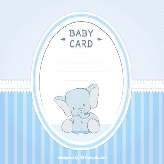 Bonita tarjeta de bienvenida del bebé con un elefante
