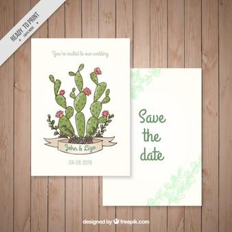 Bonita tarjeta de boda con cactus dibujados a mano