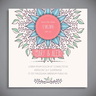 Bonita tarjeta de boda dibujada a mano