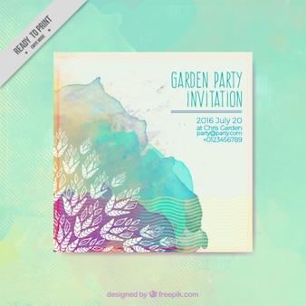 Bonita tarjeta de fiesta de jardín de acuarela con mancha de pintura y hojas dibujadas a mano