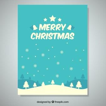 Bonita tarjeta de navidad con árboles y copos de nieve