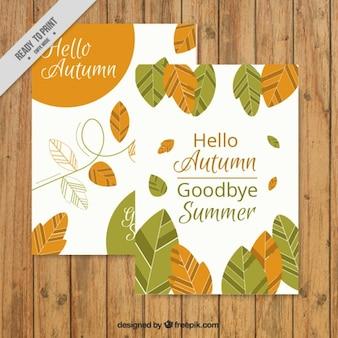 Bonita tarjeta de otoño con hojas y frases  hola otoño, adiós verano