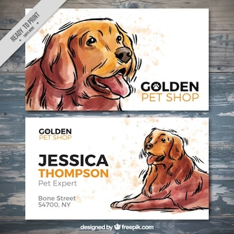 Bonita tarjeta de tienda de mascotas con perro de acuarela