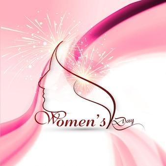 Bonita tarjeta del Día de la Mujer con fuegos artificiales