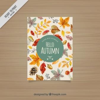 Bonita tarjeta otoñal de hojas de acuarela