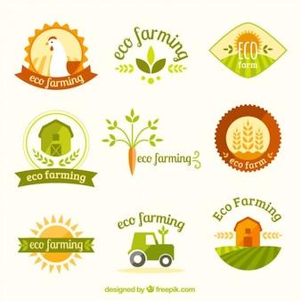 Bonita variedad de logotipos de granja
