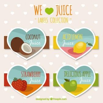 Bonitas pegatinas de zumo de fruta con forma de corazón