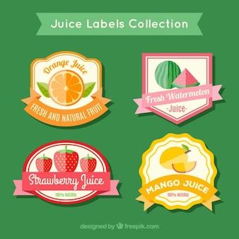 Bonitas pegatinas de zumos de fruta