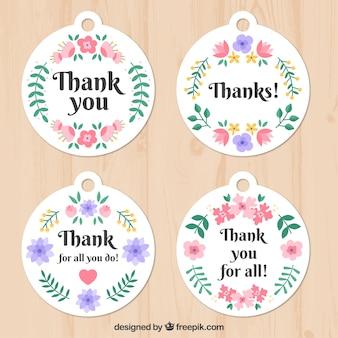 Bonitas pegatinas florales de agradecimiento