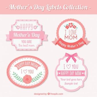 Bonitas pegatinas vintage del día de la madre con detalles rosa