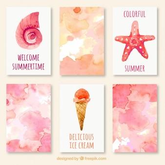 Bonitas tarjetas de acuarela de verano