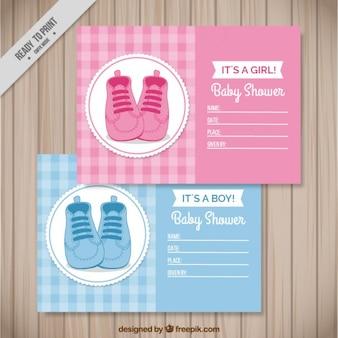 Bonitas tarjetas de bienvenida de bebé con zapatitos