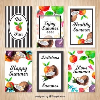 Bonitas tarjetas de verano con frutas de acuarela