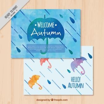 Bonitas tarjetas otoñales de acuarela con paraguas