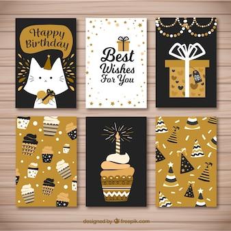 Bonitas tarjetas retro doradas de cumpleaños