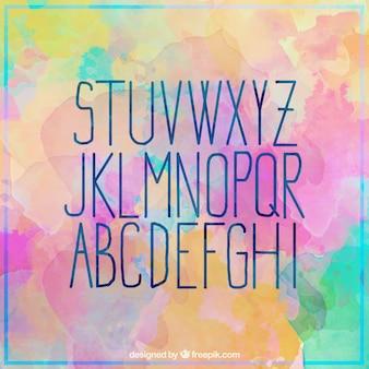 Bonito alfabeto de acuarelas