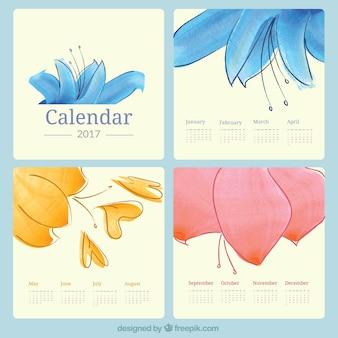 Bonito calendario 2017 de flores de acuarela