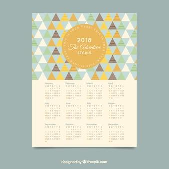 Bonito calendario 2018 con triángulos