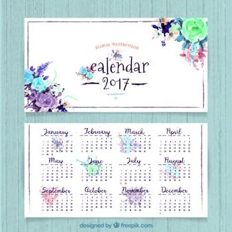 Bonito calendario de 2017 de flores de acuarela