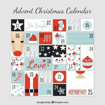 Bonito calendario de adviento con detalles navideños