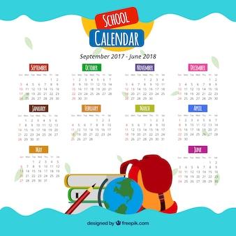 Bonito calendario escolar con materiales