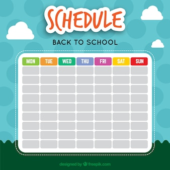 Bonito calendario escolar con un paisaje de fondo