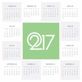 Bonito calendario verde para el año 2017