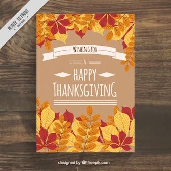 Bonito cartel con hojas para el día de acción de gracias