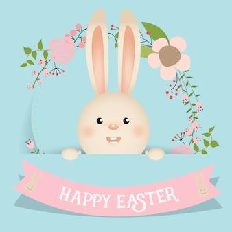 Bonito conejo de pasua con cinta y flores