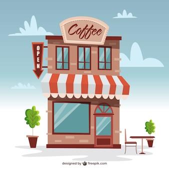 Bonito edificio de cafetería