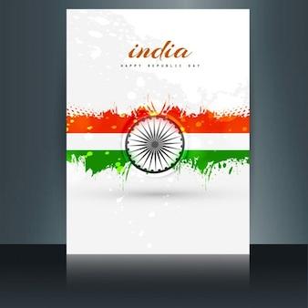 Bonito folleto con la bandera de la India