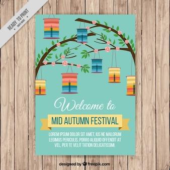 Bonito folleto de ramas con farolillos del festival del medio otoño