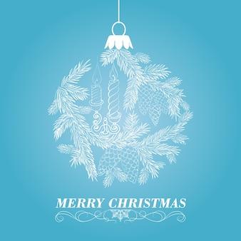 Bonito fondo azul con una bola de navidad