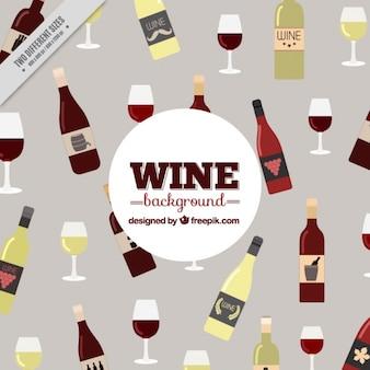Bonito fondo con botellas de diferentes tipos de vinos y vasos