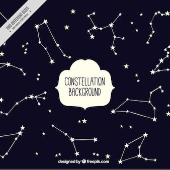 Bonito fondo con estrellas y constelaciones