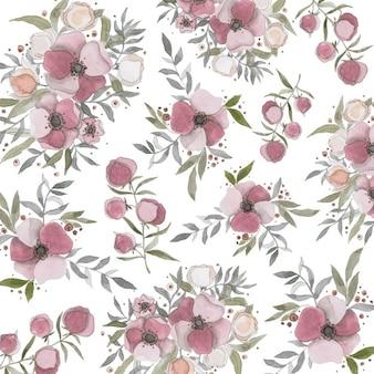 Bonito fondo con flores pintadas