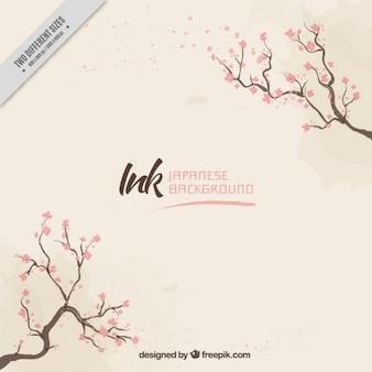 Bonito fondo con ramas y flores