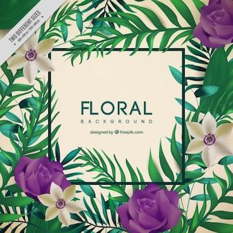 Bonito fondo con rosas moradas y hojas de palmera