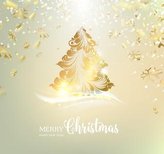 Bonito fondo con un árbol de navidad dorado