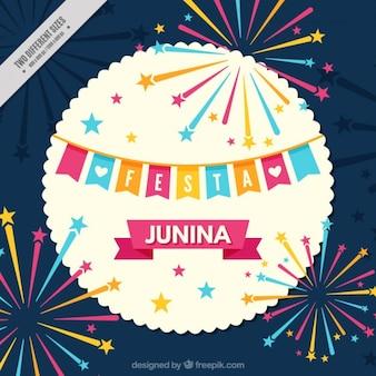 Bonito fondo de fiesta junina con fuegos artificiales