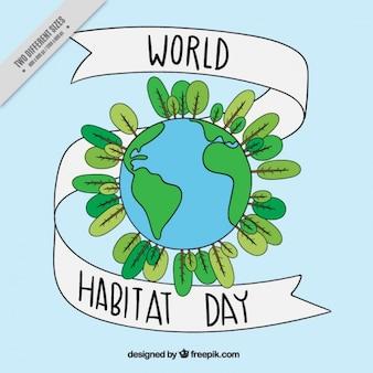 Bonito fondo de mundo ecológico dibujado a mano