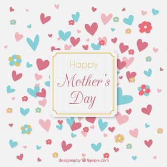 Bonito fondo del día de la madre con corazones
