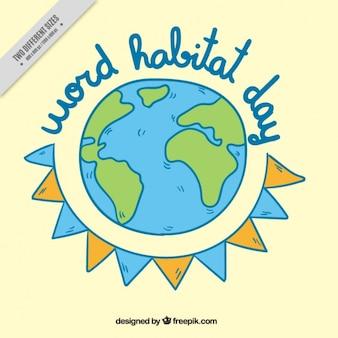 Bonito fondo del día mundial del hábitat con mundo y guirnalda dibujados a mano