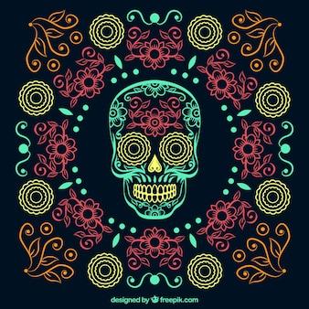 Bonito fondo ornamental dibujado a mano del día de los muertos