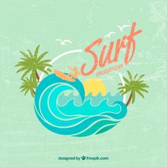 Bonito fondo vintage de surf