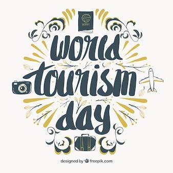 Bonito lettering para el día mundial del turismo