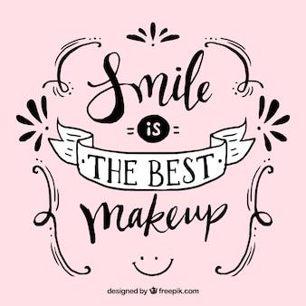 Bonito lettering vintage  sonreír es el mejor maquillaje
