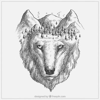 Bonito lobo dibujado a mano y bosque
